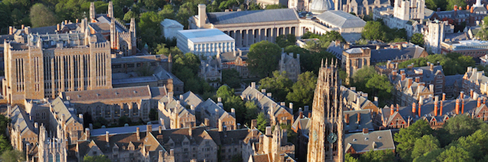 An aerial view of the Yale campus