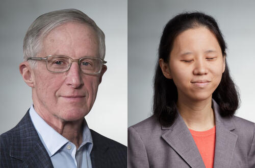 William Nordhaus (pictured wearing a blue shirt and plaid blazer) and Katie Wang (pictured wearing a coral shirt and gray blazer)