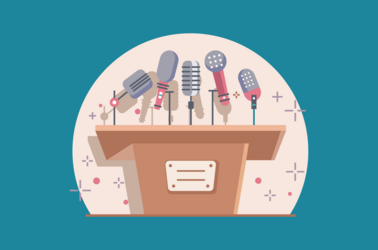 An illustrated podium with lots of microphones on the top