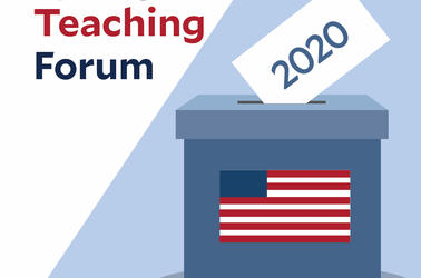 Spring Teaching Forum 2020 (with a ballot box and an USA flag on the box)