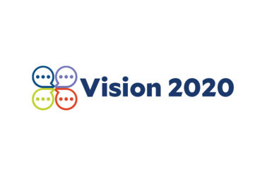 """Vision 2020"" with an icon of four colorful speech bubbles connected at the center"