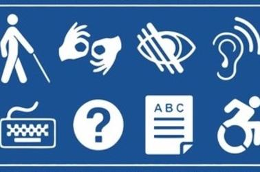 blue and white graphic with common accessibility logos-- left to right, two rows: figure walking with cane, two hands making the ASL sign for number, an eye, an ear, a keyboard, a question mark, a document icon, and the wheelchair icon