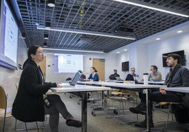 Late last week, Yale's Poorvu Center for Teaching and Learning led in-person workshops for Yale professors and instructors adapting their courses for online delivery. Training has now moved online. (Photo credit: Dan Renzetti)
