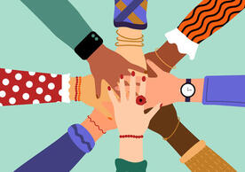 Illustrated image of a group of diverse people's hand stacked on top of each other Depicting the concept of Community, Support, and Partnership.