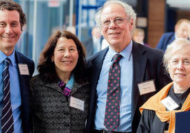 The Poorvu family, from left: Jonathan Poorvu '84, Alison Poorvu Jaffe '81, William Poorvu '56, and Lia Poorvu.